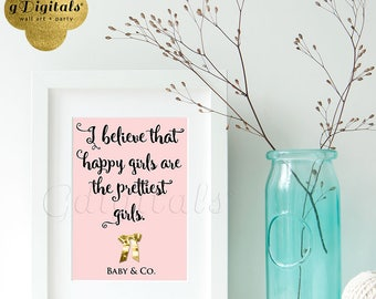 Happy girls are the prettiest girls - Audrey Hepburn printable quote, baby and co baby shower decorations 5x7
