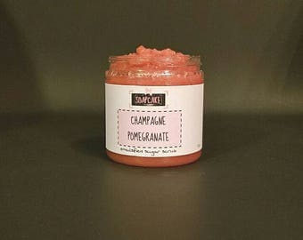 Champagne Pomegranate Emulsified Sugar Scrub / Handmade Body Scrub Polish