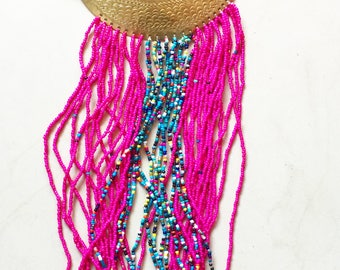 Hot Pink Seed Bead and Brass Necklace