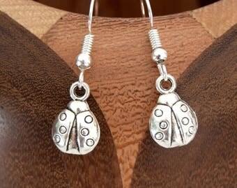 Shiny silver, shiny silver color Ladybug clips Ladybug earrings