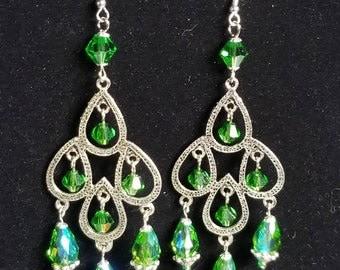 Silver and Green/Iridescent Teardrop Chandelier Earrings