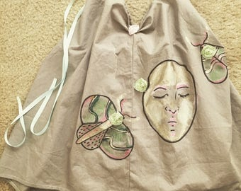 Man in the moon hand painted children's nightgown or dress from peggypoet collection