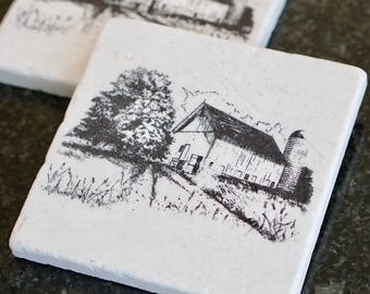Marble Farmhouse Coaster// Stamped Tumbled Marble Coaster// Marble Coaster// Farmhouse// Birthday Gift