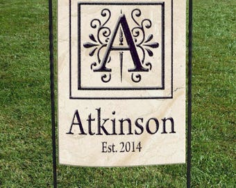 "Personalized Garden Flag, faux marble background, black decorative initial in center,  great for shower or wedding day, 12""x18"""