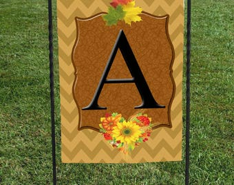 "Personalized Fall Garden Flag, Brown Chevron with fall flowers, fall leaves 12""x18"" Thanksgiving, Autumn , Initial, yellow sunflower"