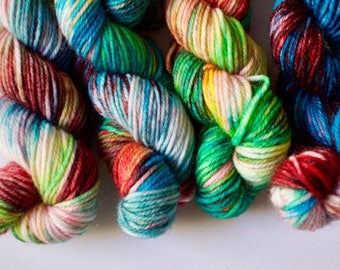 OOAK Set of 4 mini skeins - hand dyed superwash merino & nylon // 4x (20g - 85m)