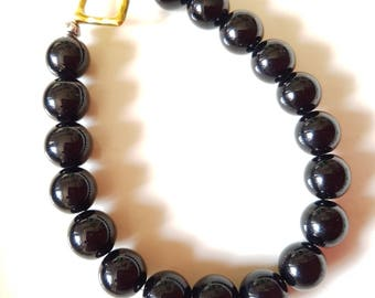 Black Stone Stretch Bracelet