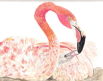 Pink Flamingo Mother & Baby Original Watercolor Giclée Print (Limited Edition)
