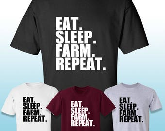 Eat Sleep Farm Repeat Adult T-Shirt