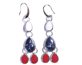RTW Cascade Earrings Red White and Blue 4th of July