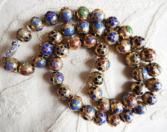 Vintage Champleve Gold Multi Cloisonne Chinese Beads Necklace