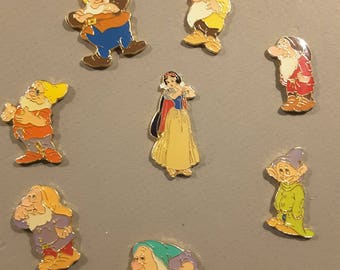 Vintage set of Disney Snow white and the seven dwarfs enamel buttons - 1950's.
