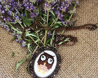 Hand Embroidered Owl Necklace/Cross-stitched Owl Necklace