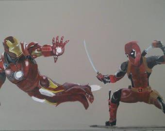 Iron Man and Deadpool fight