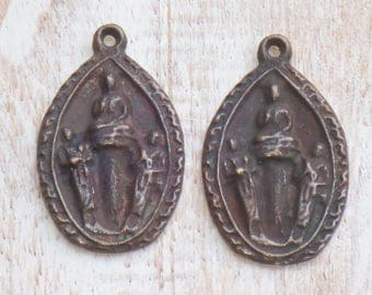 Thailand Triple Standing Buddhas Brass Charm/Buddha Pendant/ Buddha Amulet