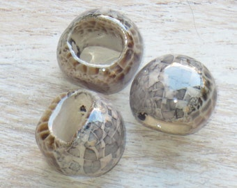 Mini Regaliz Oval Ceramic Beads in Tan/Grey 15mm, Reglaiz Bead