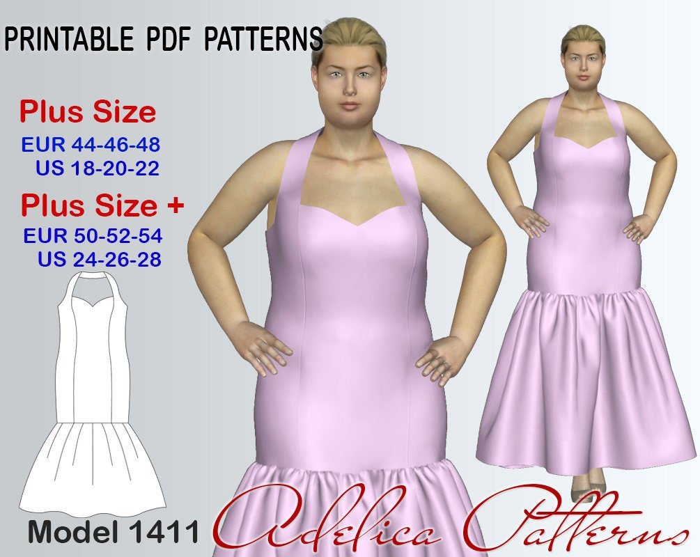 Elegant mermaid dress sewing pattern pdf evening dress for Wedding dress patterns free download