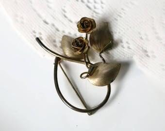Vintage Signed Bond Boyd sterling, Gold Vermeil Floral Rose brooch.