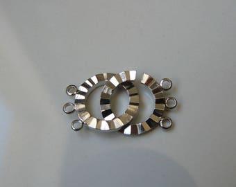 Set of 3 clasps 3 strands silver novelty 16mm