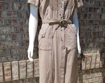Vintage 1940's Gingham Dress
