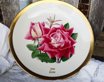 Vintage American Rose Society Collector Plate - 1980 - Love - painting by Luther Bookout - Wedding Gift