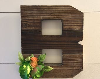 Succulent Decor, floral wood letter, nursery letter, rustic decor, rustic wood letter, farmhouse decor, farmhouse letter, floral letter,