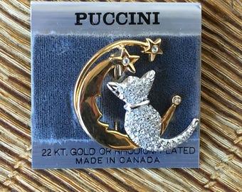 broche bijoux fantaisie en forme de croissant de lune, étoiles & chat en strass - brooch fantasy jewelry crescent moon and cat
