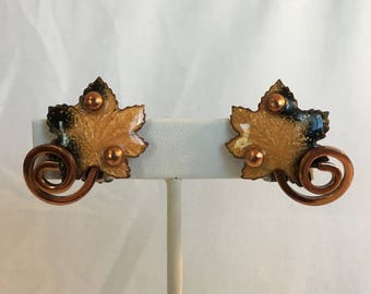 Matisse Copper Leaf With Clear Shimmer and Black Enamel Vintage Clip Earrings