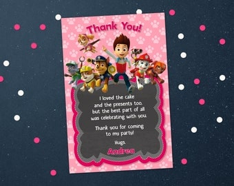 Personalized Paw Patrol Skye Thank You Card Pink For Girl Girls Birthday Party Chalkboard Chase Marshall Printable DIY - Digital File