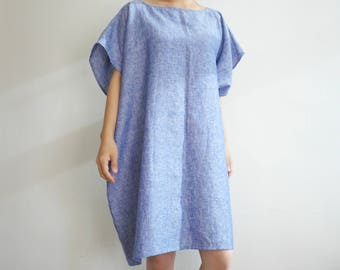Chambray Blue Italian Linen Asymetrical Dress /Loose Fitting (#011)