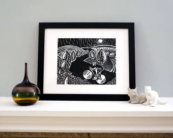 Biking Delight - Bike Art Perfect for Your Home! Featuring Bicyclist Riding Trails in a Scenic Landscape. Woodblock Print by DinoCat Studio