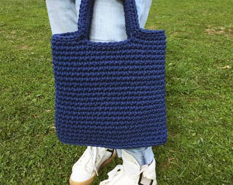 Knitted shopping bag with extended handles Yarn tote basket Grocery tote Shoulder bag
