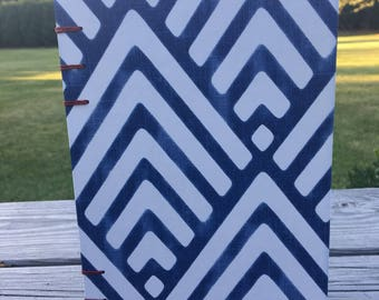 Coptic Bound Sketchbook Journal - Blue Geometric