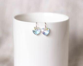 Sparkling Heart-shaped Crystal Swarovski earrings