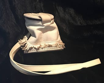 Maxi Small White Leather Handbag