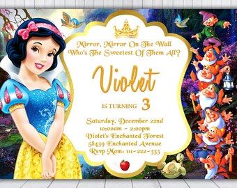 Snow White Birthday Invitation Snow White Party Invitation
