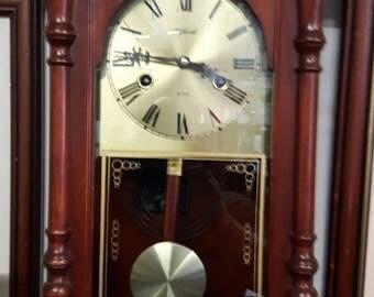 Vintage Lock Wall Clock in Mahogany.