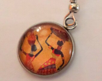 SOLD to the PIECE earring African, glass cabochon