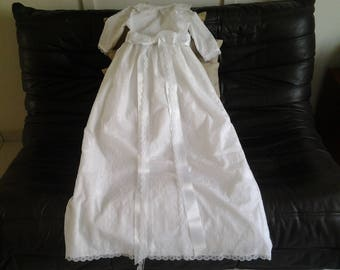 Long christening gown white embroidered cotton size 6 months