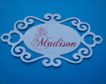 Cutout tag red personalized name in white canson paper for creation (specify your name)