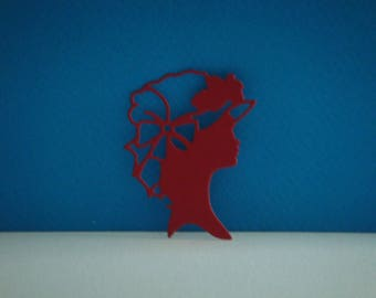 Cut for scrapbooking or card red female figure