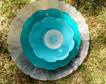 UpCycled Turqouise blue Glass Garden Art Flower