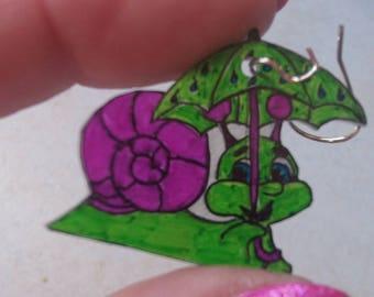 Earrings Butterfly snail in the rain