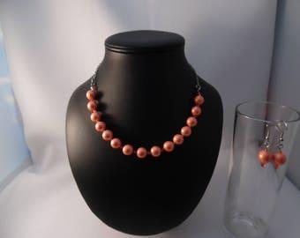Salmon parure: necklace + earrings gemstone and swarovski crystal.