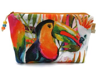 Kit makeup pouch, cover accessories pouch bag, make up bag, exotic Tropical toucan Parrot fabric