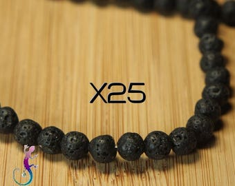25 beads 6mm black lava stone