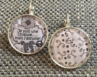 """I'm a bitch but I assume"" earrings"