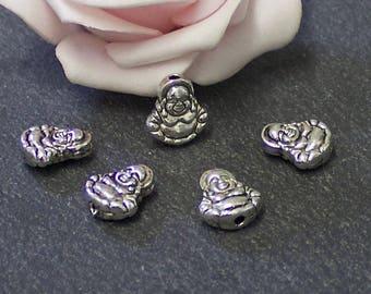 set of 10 beads 11 mm Tibetan silver