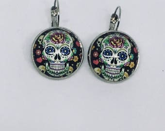 """Stud Earrings / / """"death's head"""" / / for her / gift"""