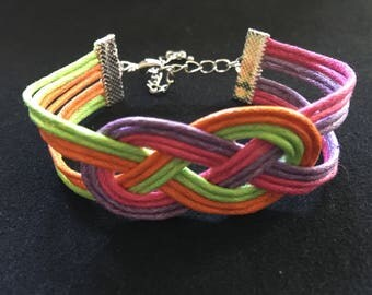 Fashion cotton sailor knot bracelet neon orange green purple fuchsia wax